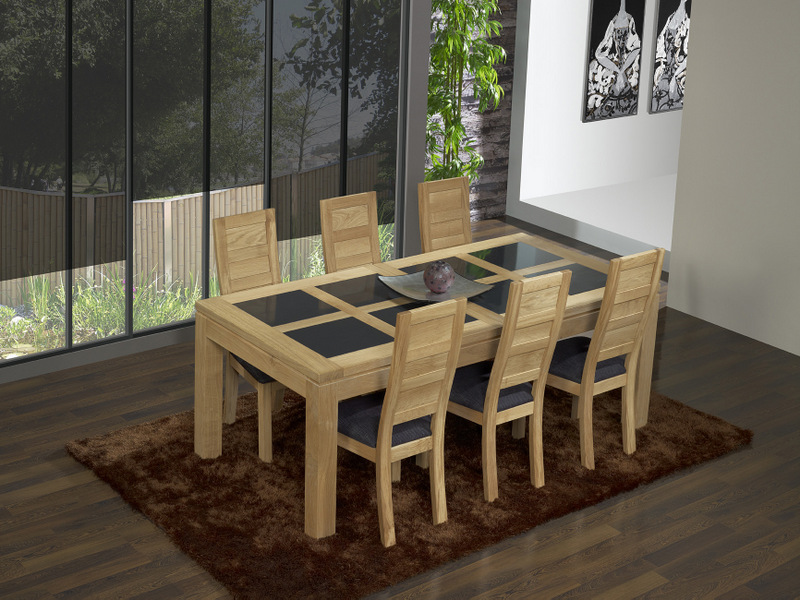 meuble en chne table de repas rectangulaire 200x100 mathis. Black Bedroom Furniture Sets. Home Design Ideas