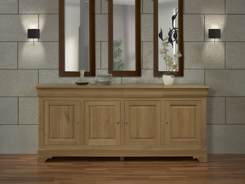 Meuble en chne buffet 4 portes gael ralis en chne massif for Finition de meuble en bois