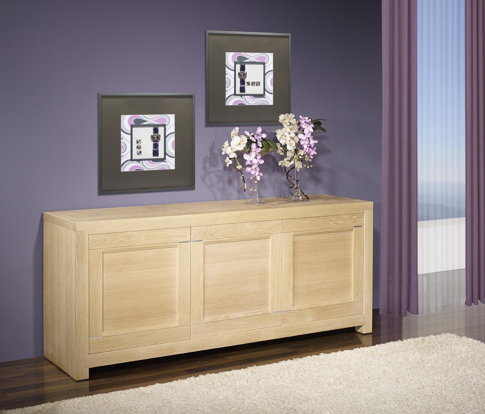 meuble en ch ne bahut 3 portes loann r alis en ch ne massif de ligne contemporaine finition. Black Bedroom Furniture Sets. Home Design Ideas