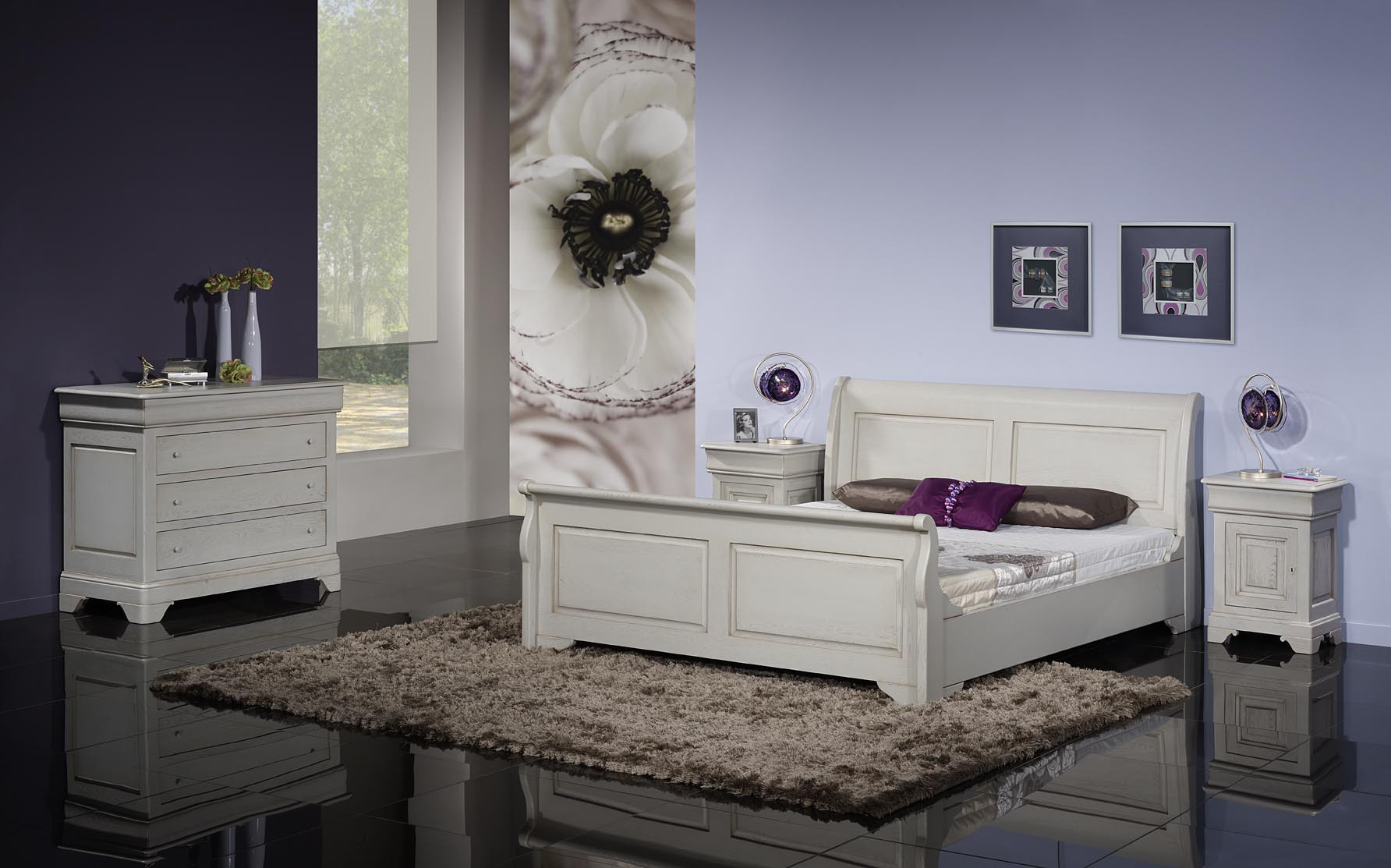meuble en ch ne lit bateau 160x200 etienne r alis en ch ne massif de style louis philippe. Black Bedroom Furniture Sets. Home Design Ideas
