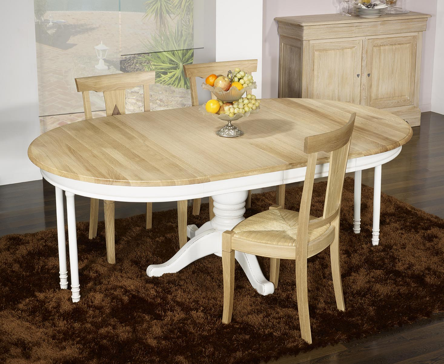 Meuble en chne table ronde pied central ralise en chne - Table ronde 120 pied central ...