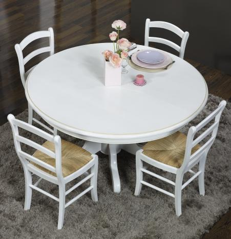 Meuble en chne table ronde maude pieds central diametre - Table ronde blanche avec pied central ...