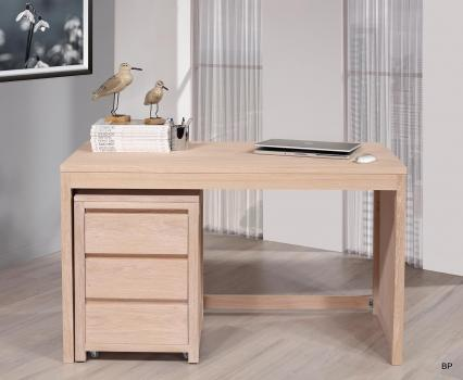 bureau contemporain en ch ne accompagn de son caisson de 3 tiroirs sur roulettes finition ch ne. Black Bedroom Furniture Sets. Home Design Ideas